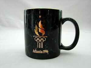 Vintage 1996 Atlanta Olympic Mug/Cup Marble Look Gold Gilt & Rim New No Box