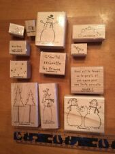 Stampin' UP Rubber Stamps Set Lot #1 French Francais Dnowman Tree Christmas Noël