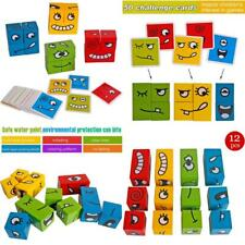 Wooden Face-Changing Cube Building Blocks Expressions Matching Block Puzzles Bui