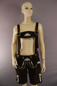 WOMENS GERMAN BAVARIAN OKTOBERFEST EMBROIDERED DK BROWN SUEDE LEATHER LEDERHOSEN