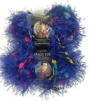Lion Brand Fancy Fur Yarn 2 Skeins in Brilliant Blue #209 FREE SHIPPING