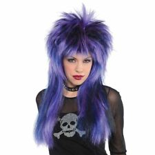 Adult Ladies 80s Purple Rock Star Cybergoth Punk Rocker Mullet Wig Accessory