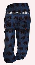COTTON ALI BABA BOHO HIPPIE YOGA WOMAN PANT BLUE ELEPHANT PRINT TROUSER GYPSY
