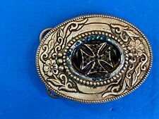 Western Center piece Belt Buckle with picture of Iron Cross