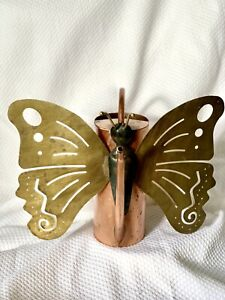 """BUTTERFLY Watering Can Copper & Brass ~  9"""" High"""