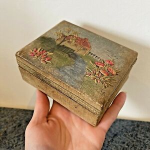 Pretty Vintage Fabric Covered Box Old Hand Pained with Embroidery