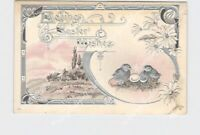 PPC POSTCARD LOVING EASTER WISHES CHICKS EGGS DAISES ART NOUVEAU SILVER EMBOSSED