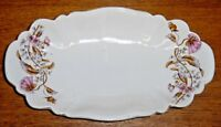 "Antique Small Oval Porcelain Bowl / Tray - Flowers - 10"" x 5 5/8"""