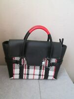 BNWT FIORELLI BLACK WHITE RED CHECK TOTE HANDBAG CROSSBODY STRAP