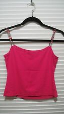 Ann Taylor beaded Spaghetti Strap top hot pink size XS