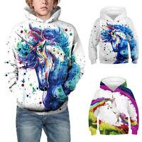 Kids Girls Boys 3D Unicorn Hoodie Hooded Sweatshirt Coat Top Winter Fall Casual