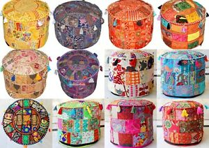 Indian Handmade Vintage Patchwork Cotton Ottoman Pouffe Cover Round Ethnic Decor