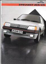 PEUGEOT 205 GTi  SALES BROCHURE JANUARY 1985