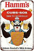 "1969 Cubs White Sox Hamm's Beer Vintage Rustic Retro Metal Sign 8"" x 12"""