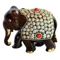 Royal Hand Crafted Indian Elephant Meenakari Painted Wooden Sculpture Statue