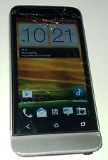 HTC One V 4GB Grey Cricket Smartphone Cracked Glass - Tight Power Button - WORKS