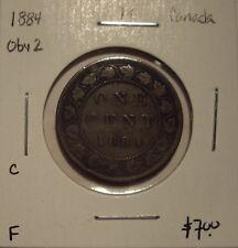 C Canada Victoria 1884 Obv 2 Large Cent - F