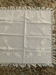 "Hand embroidered 23"" Square Table Linen W/fringe -Hungarian KALOCSA White"