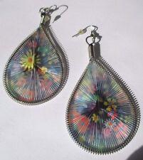 boucles d'oreilles percées bijou rétro pendant fil couleur hippie fleur 450