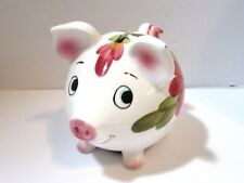 SMALL PIGGY BANK PAINTED FLORAL DESIGN PORCELAIN CHINA PIG VINTAGE ANIMATED