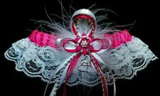 FUCHSIA PINK WHITE SILVER GARTER Prom Wedding Special Occasion Bridal FUSHCIA