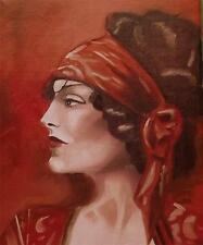 Original Painting Oil on Canvas Portrait  by GREGORY TILLETT : Lady in Red