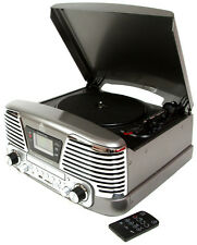 GPO MEMPHIS SILVER/GREY, 4 IN 1 VINYL TURNTABLE, CD PLAYER, MP3 PLAYER, FM RADIO