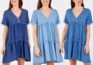 Women's Denim Raw Edge Smock Dress Summer Short Sleeve Loose Frill Hem Sundress