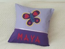 CHILD'S/GIRS PERSONALISED NAME CUSHION COVER/NURSERY/SHOWER/GIFT - Butterfly -