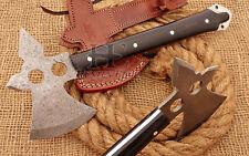 HUNTEX Custom Hand-Forged Damascus Steel 30 cm Long Buffalo Horn Bow Viking Axe