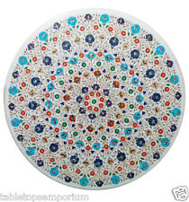 """42""""x42"""" Marble Dining Table Top Lapis Turquoise Handmade Inlay Christmas Decor"""