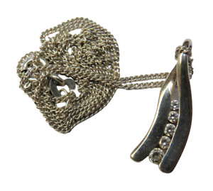 Stylish Ladies Sterling Silver & CZ Pendant & Necklace