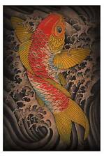 Koi by Clark North Tattoo Art Print Classic Japanese Style Fish and Waves Poster