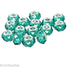 10 Perles Européen Cristal Verre Blue paon Pr Bracelet Charm 14x9mm