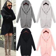 Winter New Ladies Casual Long Jackets Woolen Warm Women Slim Hooded Coat Outwear