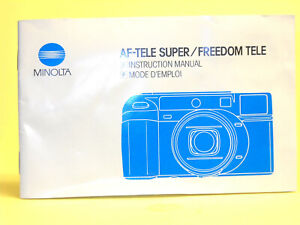 Original(!) Minolta Instruction Manual for AF-TELE SUPER/FREEDOM TELE...