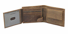 STARHIDE MENS RFID SAFE BROWN DISTRESSED HUNTER LEATHER COIN POCKET WALLET 1060