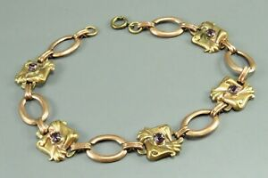 10K YELLOW & ROSE GOLD Panel Link Book Chain AMETHYST BRACELET Scroll OVAL VTG