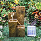 Solar Powered Wood Effect Fountain Led Light Patio Water Feature Outdoor Statues