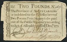 2 Pounds Rare North Carolina Colonial Currency Note Dec 1771 Bt2765