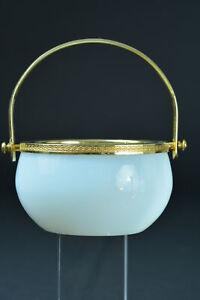 Fine french white opaline basket & gilt bronze hinge Empire style laurels