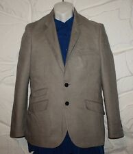 Grey linen H & M Button Fitted Casual Party Hip Length Jacket Blazer Sz 36 / 46