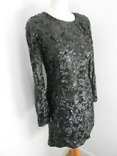 French Connection black fully sequinned long sleeve dress 12 party event