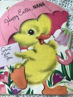 Vintage Greeting Card Easter Nana Flocked Chick Duck Umbrella 1954 Used