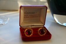 VINTAGE CUFF LINKS DIAMOND CUT RARE 22CT PLATED