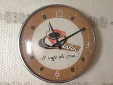 "OROLOGIO DA PARETE FORME ""CAFFE ITALIA"" VINTAGE BOMBATO  DIAMETRO 32 CM"