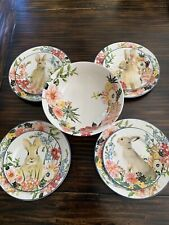 Pottery Barn Flora Bunny 9 Piece Set Plates Footed Floral Serving Bowl Easter