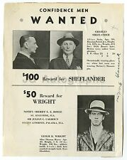 "Wanted Poster - ""Confidence Men - Charles Sheflander, Leslie K. Wright"" - FL"