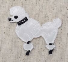 "Xs 1.75"" White Poodle/Dog 50s Facing Left Iron on Applique/Embroidered Patch"