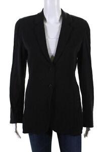 Emporio Armani Womens Button Down Blazer Jacket Black Wool Size EUR 40